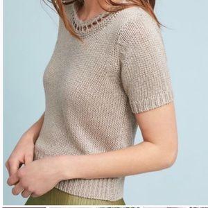Anthropologie Sz Md Lattice Sweater Top